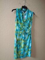 Kenneth Cole New York Womens NWT Aquamarine Multi Print Dress Medium NEW