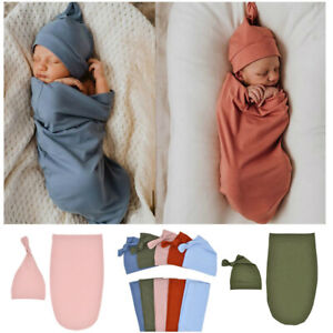 Muslin Newborn Baby Swaddle Blanket Receiving Blanket Swaddle Wrap Hat Outfits