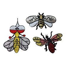 ID 1604ABC Set of 3 Bees Insect Bug Embroidered Iron On Applique Patch