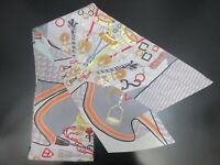 Authentic HERMES Maxi Twilly Scarf 100% Silk Gray Multi Color 91688