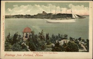 Casco Bay Portland ME Ottawa House & Schooner Ship c1905 Postcard