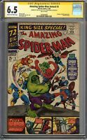 Amazing Spider-Man Annual #3 CGC 6.5 FN+ Signed 2x STAN LEE & ROMITA Avengers