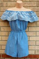 PRIMARK BLUE RUFFLE BARDOT LAYER CULOTTE DENIM LOOK EMBROIDERED PLAYSUIT 18