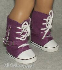 "Purple Canvas High Tops Tennis Shoes Sneaker Boots fit 18"" American Girl Doll"