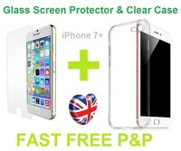 Premium Clear Silicone Case & Tempered Glass Screen Protector For iPhone 7 Plus