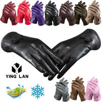 Women Ladies Soft Sheepskin Manual Leather Gloves With Fur Lining Driving Winter
