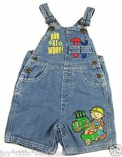 Bob The Builder Boys Bib Denim Overalls Shorts Size 24 Months