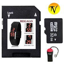 32GB  Micro SD TF  Class 10 +  USB ADATTATORE + WATCH SILICONE NERO in regalo
