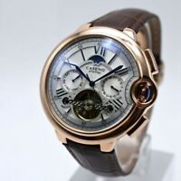 Vintage Automatic Mechanical Tourbillon Calendar Men's Wrist Watch Swiss Steel