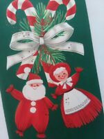 Vtg Mr & Mrs SANTA YARN DOLLS on CANDY CANES Embossed CHRISTMAS GREETING CARD