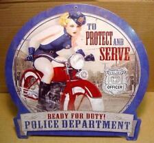 Vintage Style Metal Sign Police Protect and Serve for Harley Biker Garage, Gift
