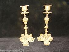 Jolie ancienne paire de bougeoir, chandelier, candélabre décor têtes de femme