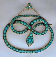 A Stunning & Impressive Turquoise Snake Pendant Circa 1800's