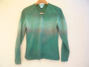 VTG Neiman Marcus Woman's Sweater 100% CASHMERE Upcycled Jade Green V Neck Sz M