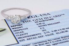 0.73ct Vintage Platinum Peacock Round Diamond Engagement Ring EGL-USA Rtl $4,100