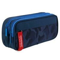 Large Capacity Pencil Case for Boys and Girls Zippered Triple Pocket Large Desk