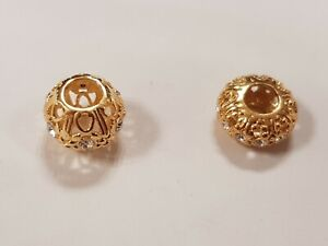 Pair of Charm Beads 925 Gold Plated Silver (AS GOOD AS PANDORA)