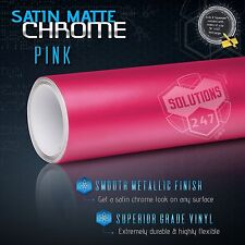 "60"" x 96"" In Pink Satin Matte Chrome Metallic Vinyl Wrap Sticker Decal Air Free"