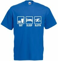 Eat Sleep Sloth, Mens Printed T-Shirt Casual Cotton Soft Tee Sale Short Sleeve