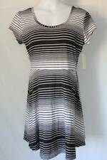 NEW Womens Short A-Line Dress Size Medium Above Knee Soft Black White Striped