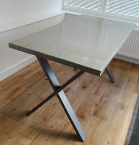 Polished Concrete Dining Table with Steel Legs