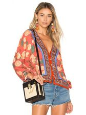 NWT Free People Freshly Squeezed Top Shirt Blouse Print Floral S Button Down V
