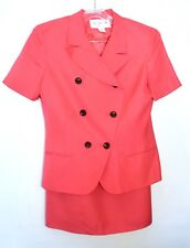 Jones New York Women's Short Sleeve Double Breasted Skirt Suit, Pink, Size 10