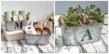 Country IN OUTDOOR GALVANIZED METAL BUCKET Personalize Initial Storage Planter