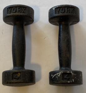 Set of 2 Vintage York Round Headed All Metal Dumbbells 4lb Set
