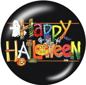 Happy Halloween Glass Orange Black Funny 20mm Snap Charm For Ginger Snaps