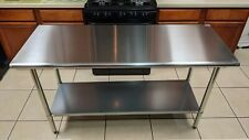 2x5ft Adjustable Table Work Prep Undershelf Restaurant Indoor Stainless Steel