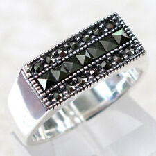 OUTSTANDING MARCASITE VINTAGE STYLE 925 STERLING SILVER RING SIZE 5-10