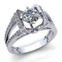 Natural 1ct Round Cut Diamond Ladies Bridal Solitaire Engagement Ring 14K Gold