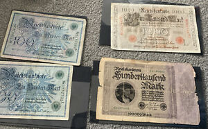 Collection Of 4 Vintage Antique German Money Banknotes