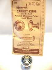 "Vintage NOS 1"" CHROME DRAWER KNOB CABINET DOOR PULL Black Circles Bulls eye MCM"