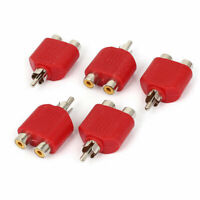 RCA Male to Dual Female Y Splitter Audio Adapter Connector Red 5pcs