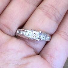 IGI Certified Natural Princess Diamond Wedding Engagement Ring 14k White Gold