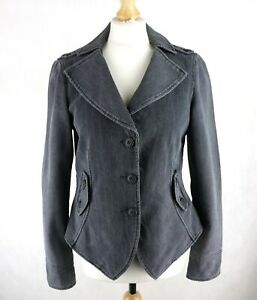 Womens ARMANY JEANS Grey Denim Jacket Size UK 14 Corduroy Button down Collared