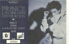 RARE / TICKET BILLET PLACE DE CONCERT - PRINCE : LIVE A PARIS ( FRANCE ) 1992