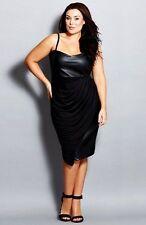 City Chic Black Chiffon Overlay Faux Leather & Stretch Knit Dress--XXL