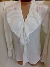 Ralph Lauren Shirt White Linen Ruffle Front And Cuff Size2 NWT $795