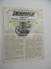 1929 Dempster Farm Water Supply System Catalog Brochure Beatrice NE Vintage