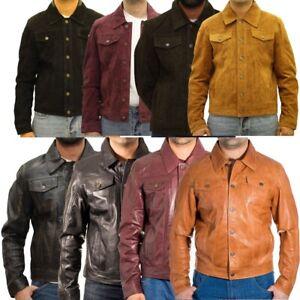 Mens Stylish Suede or Leather Denim Style Western Trucker Jacket