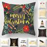 Christmas Xmas Cotton Linen Throw Pillow Case Sofa Cushion Cover Home Decor Gift