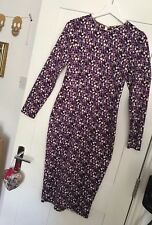 Ladies M&S LIMITED EDITION purple geometric circle print midi dress Size 8