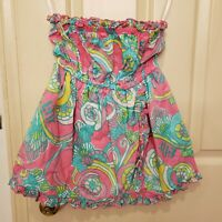 Lilly Pulitzer Amy Fruit Tube Top Strapless Cotton Juniors or Womans SMALL