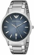 Emporio Armani AR2472 Silver Tone Blue Textured Dial Mens Classic Dress Watch