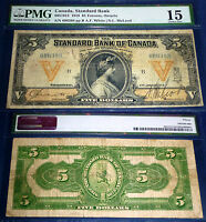 50 KNOWN .The Standard Bank of Canada $5 ,1919 .Lovely Banknote 695-18-12 .PMG15