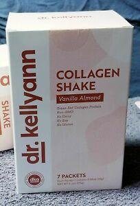 dr. kellyann Collagen Shake Vanilla Almond Grass Fed Prebiotic 7 packets 2/2021