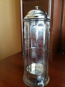 Vintage Drinking Straw Holder Dispenser Glass with Metal Lid Soda fountain